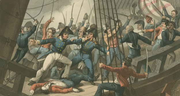Abordage et capture du vaisseau américain Chesapeake par les officiers et les membres d'équipage du navire de Sa Majesté, le Shannon, sous le commandement du capitaine Broke, juin 1813