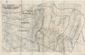 Carte des barrages d'artillerie