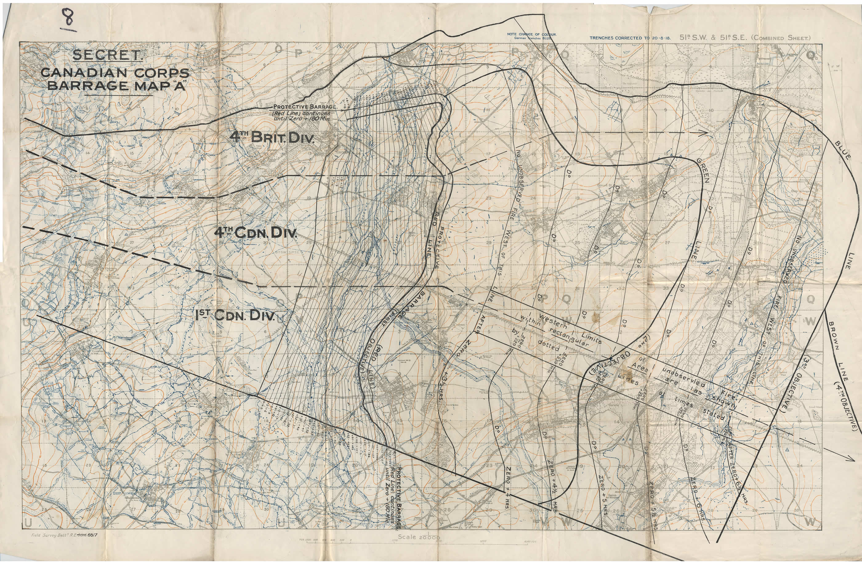 Carte des barrages d'artillerie