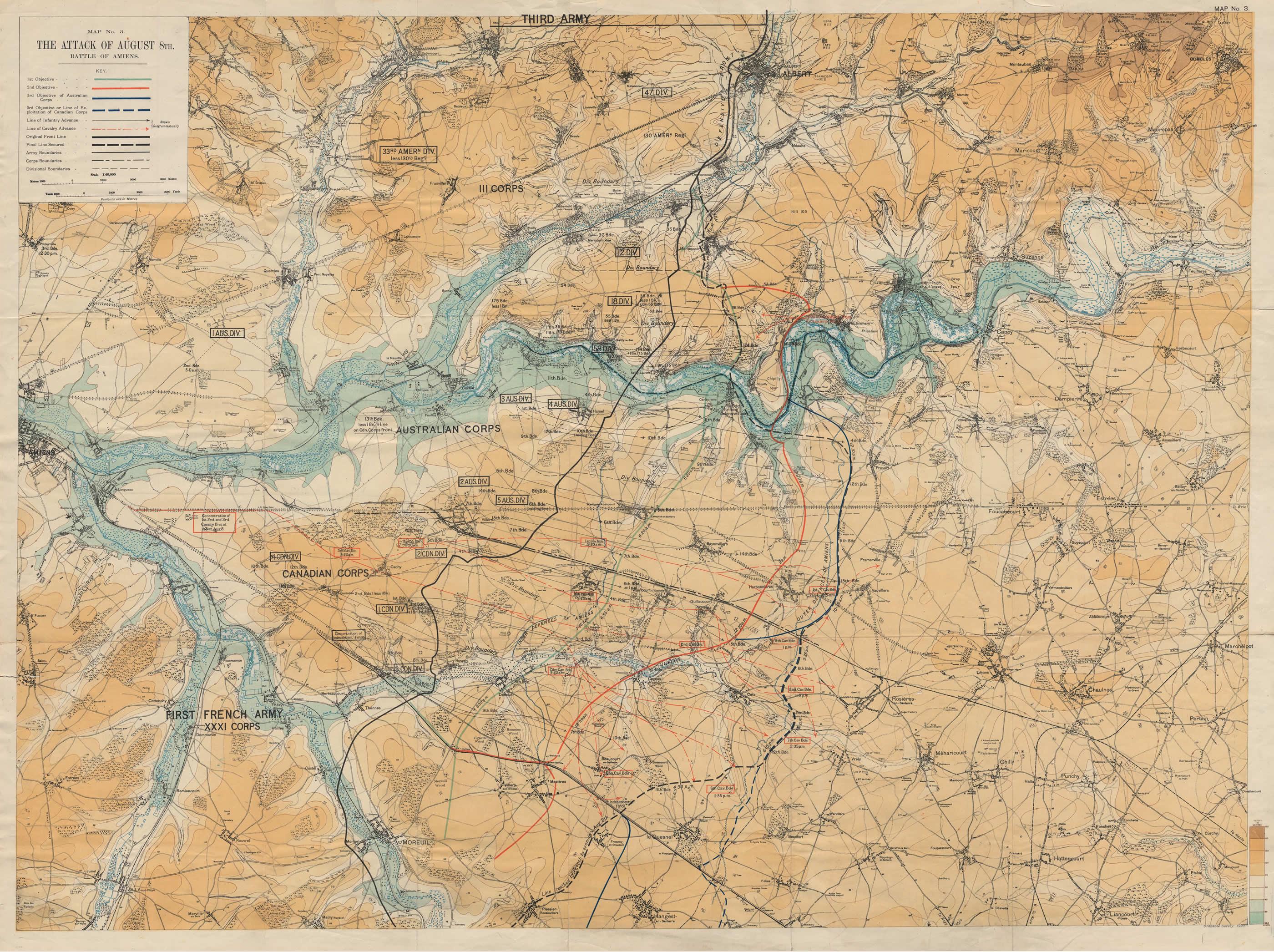 Carte de la bataille d'Amiens, le 8 août 1918