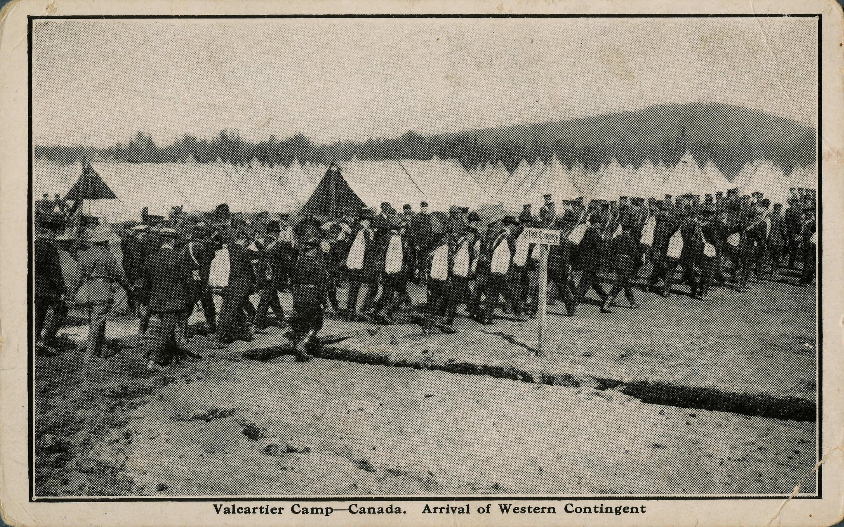 Arrivée du contingent de l'Ouest, Valcartier