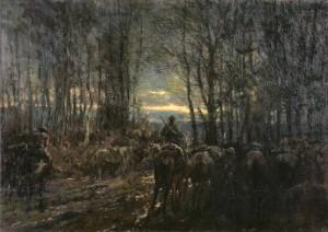 La cavalerie canadienne prête au combat dans un bois