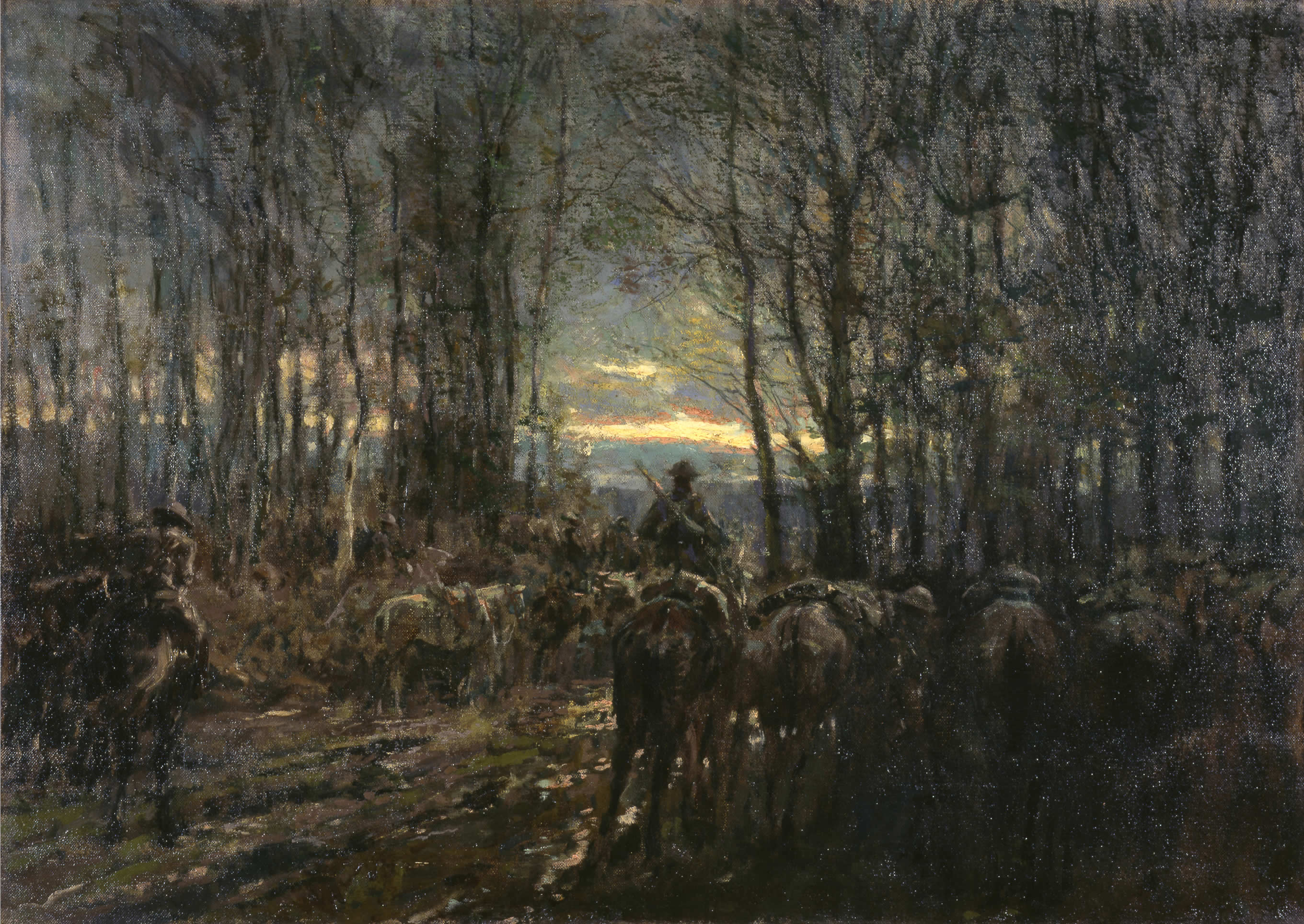 <i>La cavalerie canadienne prête au combat dans un bois</i>