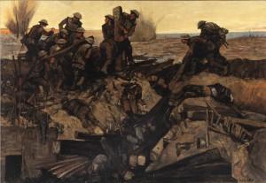 Canadiens réparant une voie ferrée sous le tir des obus