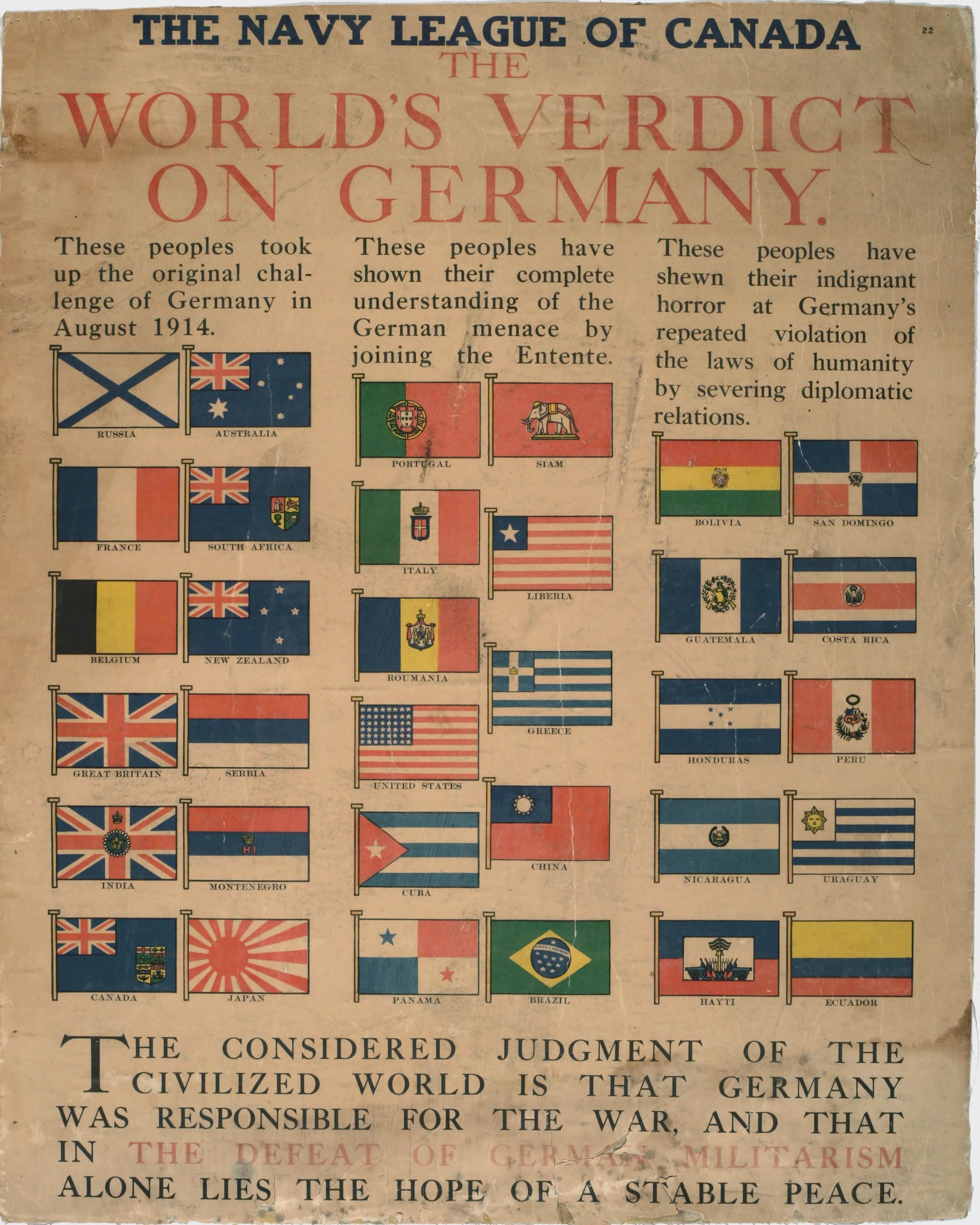 <i>The World's Verdict on Germany (Le verdict du monde sur l'Allemagne)</i>