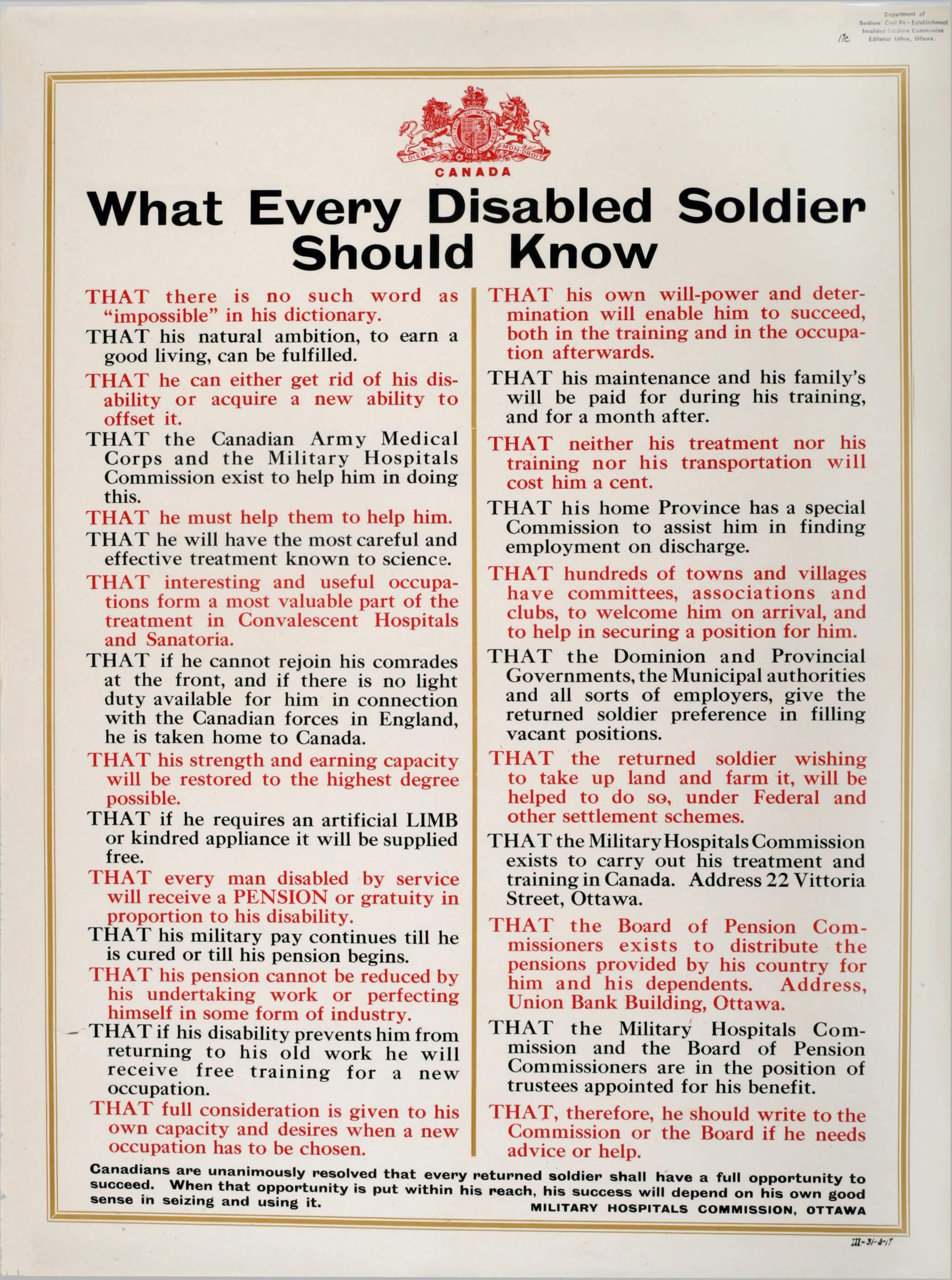 <i>What Every Disabled Soldier Should Know (Ce que tout soldat invalide devrait savoir)</i>