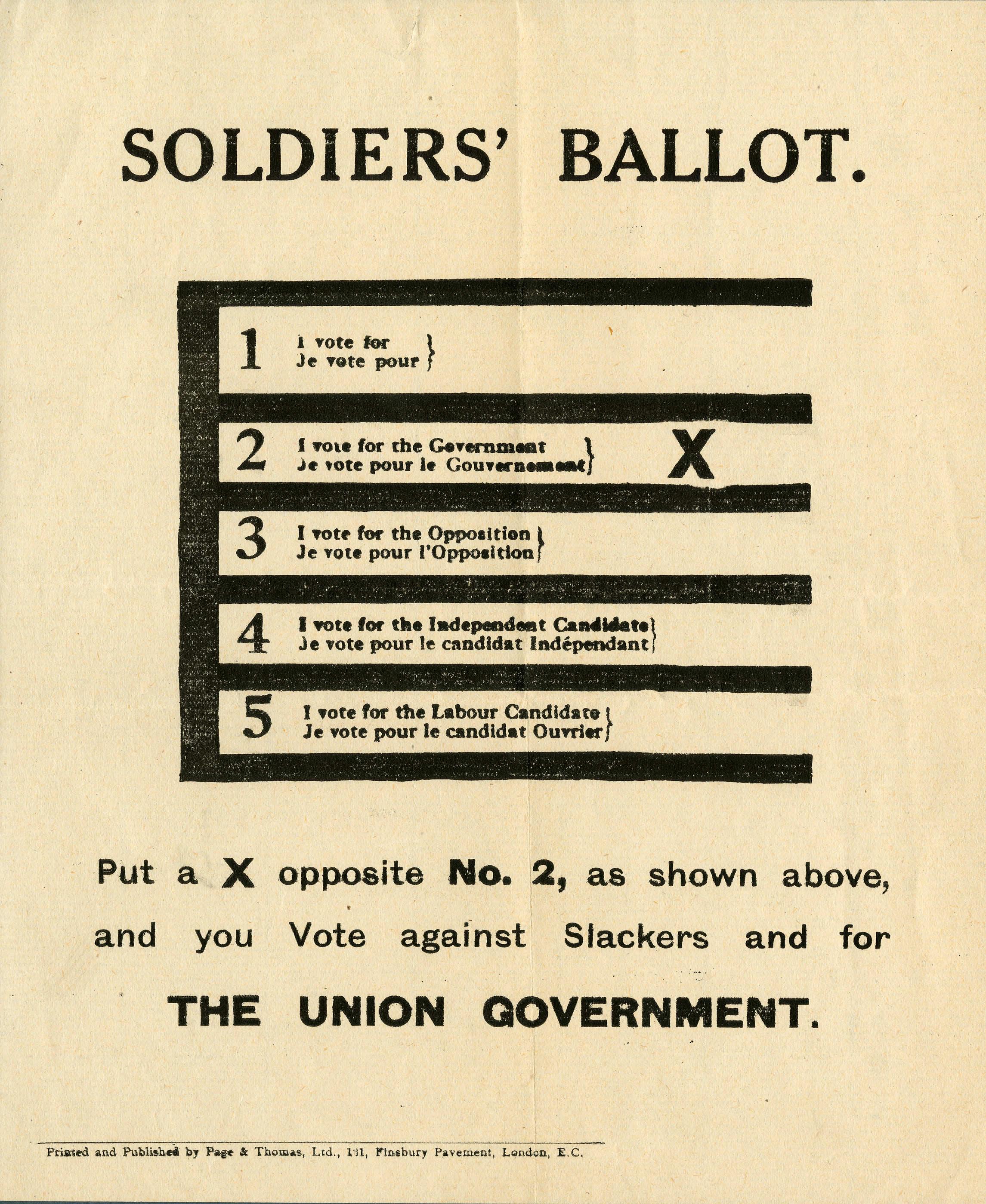 <i>Soldiers' Ballot. (Le vote des soldats.)</i>