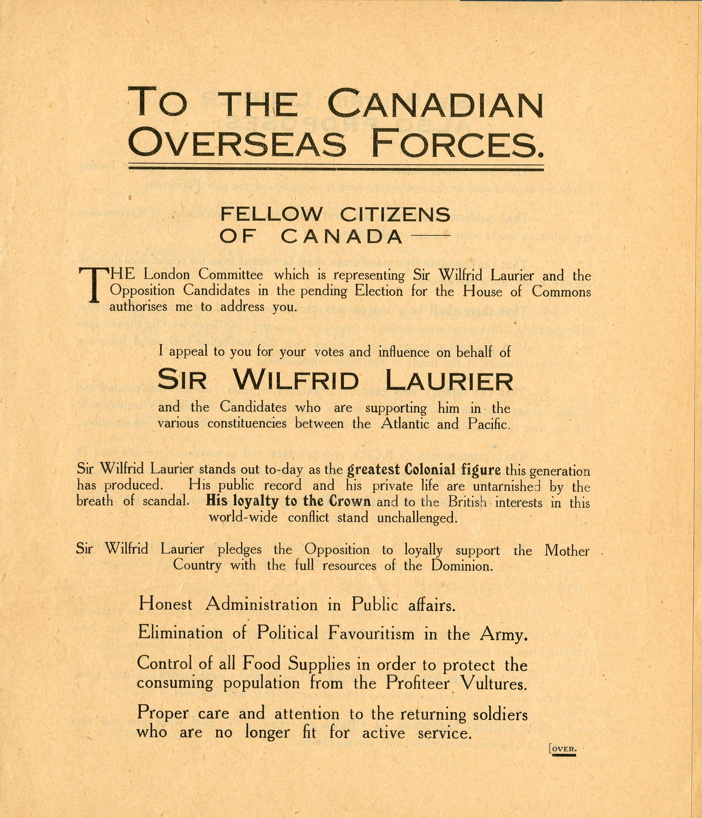 <i>Vote for Laurier (Votez pour Laurier)</i>