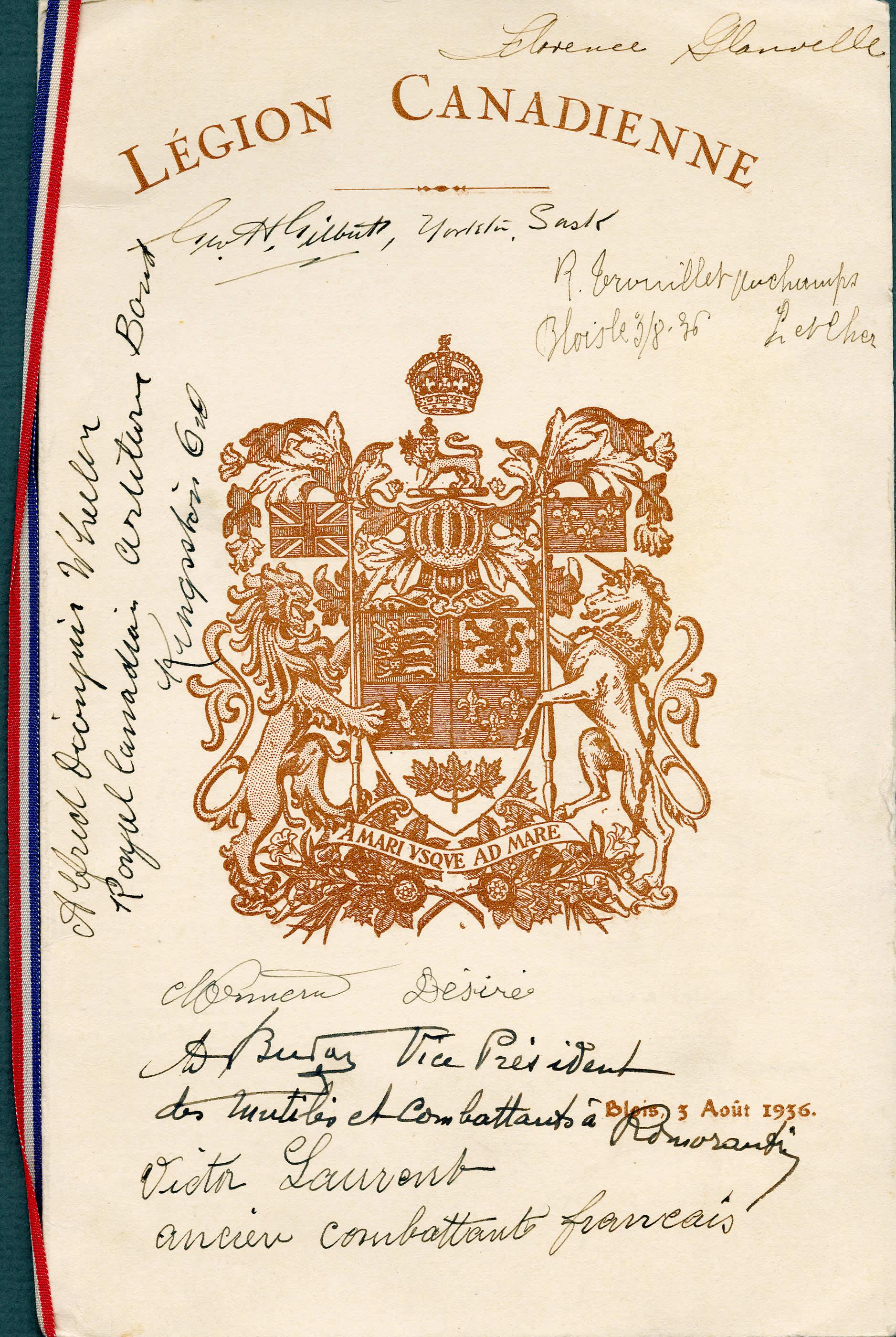 Réception de la Légion canadienne