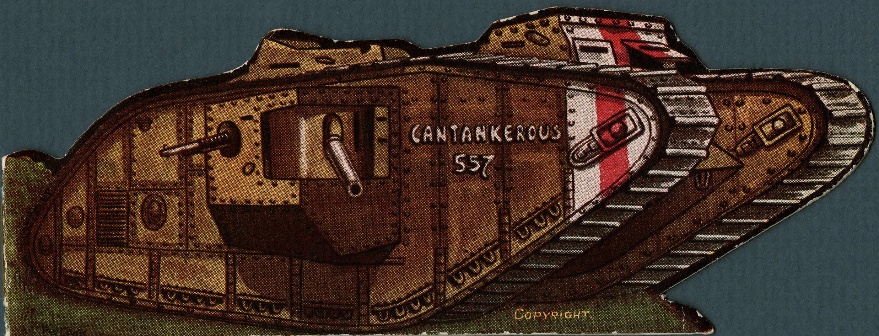 Carte de Noël représentant un char
