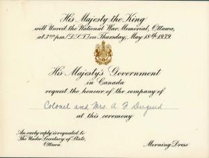 Invitation à l'inauguration du Monument commémoratif de guerre