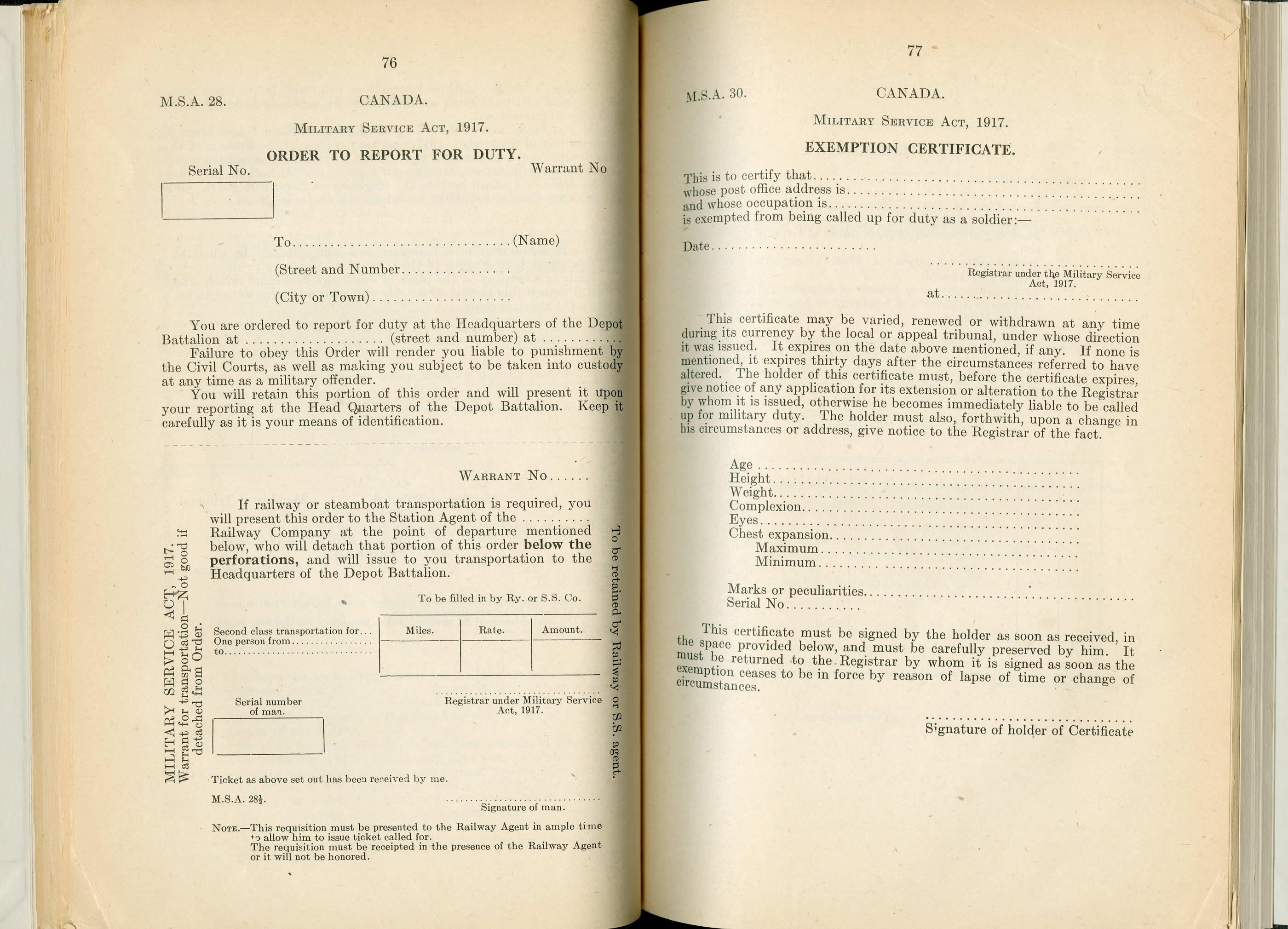 Formulaires de la Loi du Service Militaire