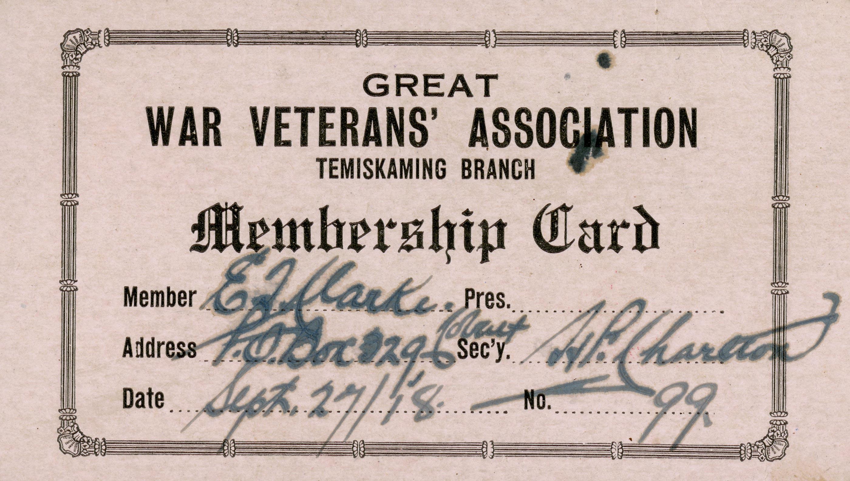 Carte de membre de la GWVA