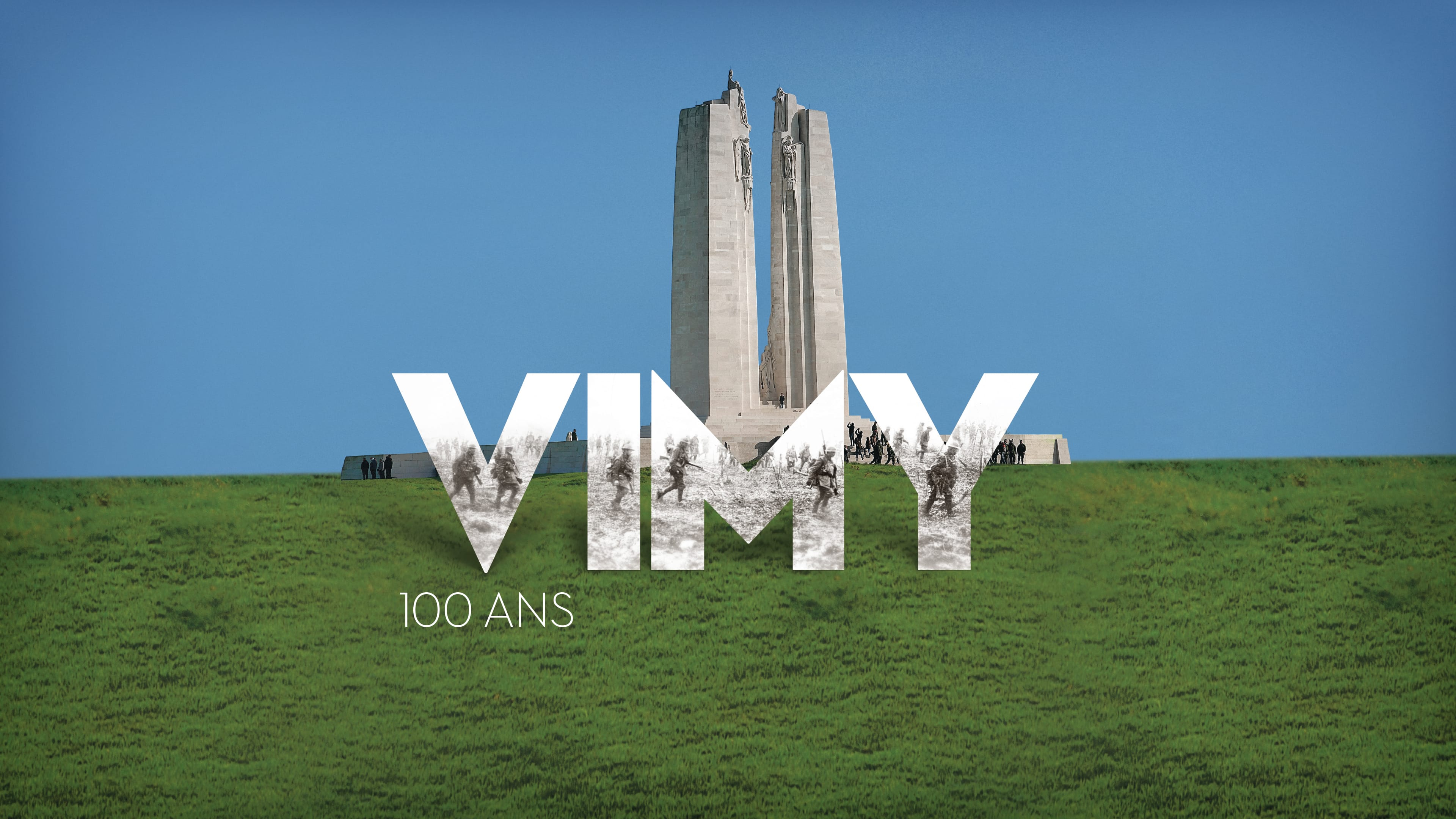 The limestone memorial and surrounding green field of the Canadian National Vimy Memorial. The words Vimy - 100 years overlaid on top. A black-and-white photograph of soldiers in at the Battle of Vimy Ridge shows through the word Vimy.