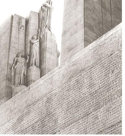 Un détail du Mémorial de Vimy