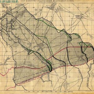 Carte illustrant les avancées du Corps d'armée canadien