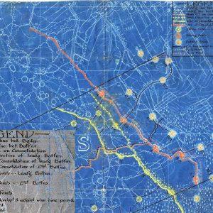 Fragment d'une carte illustrant les limites, objectifs et emplacements fortifiés de la 11e brigade d'infanterie canadienne