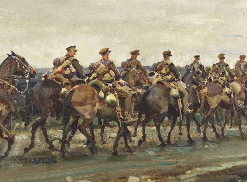 Peinture représentant la cavalerie en marche
