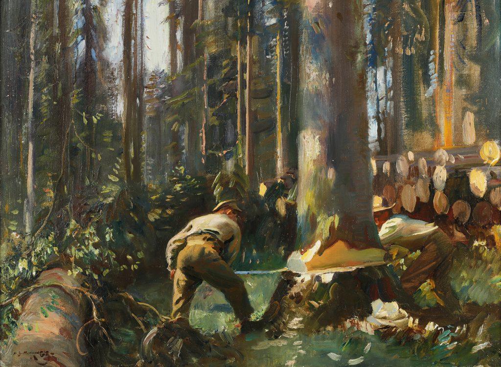 Peinture d'un homme abattant un arbre
