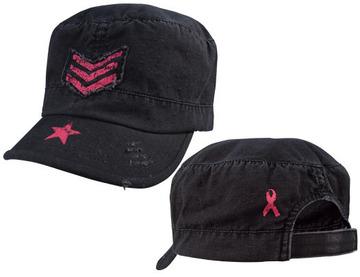 Women adjustable vintage fatigue cap with pink sergeant stripes & star