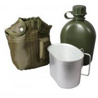 Aluminum Canteen with green sleeve