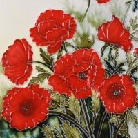 Classic Poppies Decorative Ceramic Tile