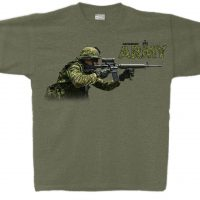 Heather Military Green T-Shirt with Canadian Army and Soldier
