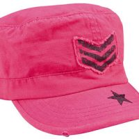 Women adjustable vintage fatigue cap with black sergeant stripes & star