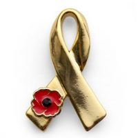 'We Support Our Troops' Gold Ribbon Lapel Pin
