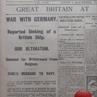Newspaper replica from 1914