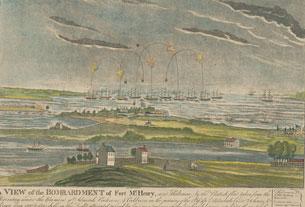Une vue du bombardement de Fort McHenry, près de Baltimore, par la flotte britannique… le 13 septembre 1814, au matin