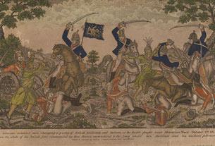 Des cavaliers du colonel Johnsons chargent un groupe formé d'artilleurs britanniques et d'Indiens, à la bataille qui s'est déroulée près de Moravian Town, le 2octobre 1813