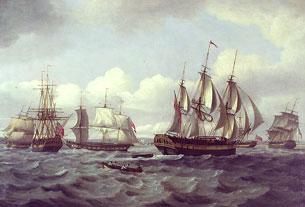 Le Castor et autres navires dans une mer agitée
