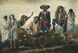 Une délégation d'Autochtones des tribus du Mississippi rencontre le gouverneur en chef de l'Amérique du Nord, George Prevost