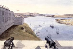 Vue depuis les baraques des officiers, la citadelle, Québec, le Cap Tourmente, l'île d'Orléans, 1840