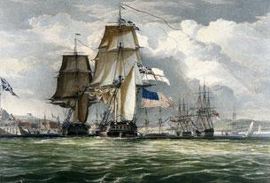 Le HMS Shannon remorque sa prise, la frégate américaine Chesapeake dans le port de Halifax