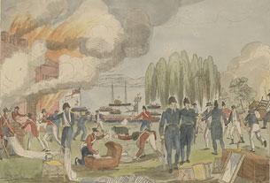 L'amiral Cockburn mettant Havre-de-Grâce à feu et à sac, le 1er juin 1813