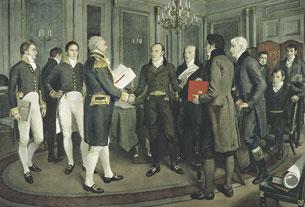 Cent ans de paix. La signature du traité de Gand passé entre la Grande-Bretagne et les États-Unis d'Amérique, le 24 décembre 1814.