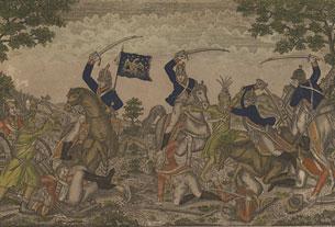 Des cavaliers du colonel Johnson chargent un groupe formé d'artilleurs britanniques et d'Indiens, à la bataille qui s'est déroulée près de Moravian Town, le 2 octobre 1813