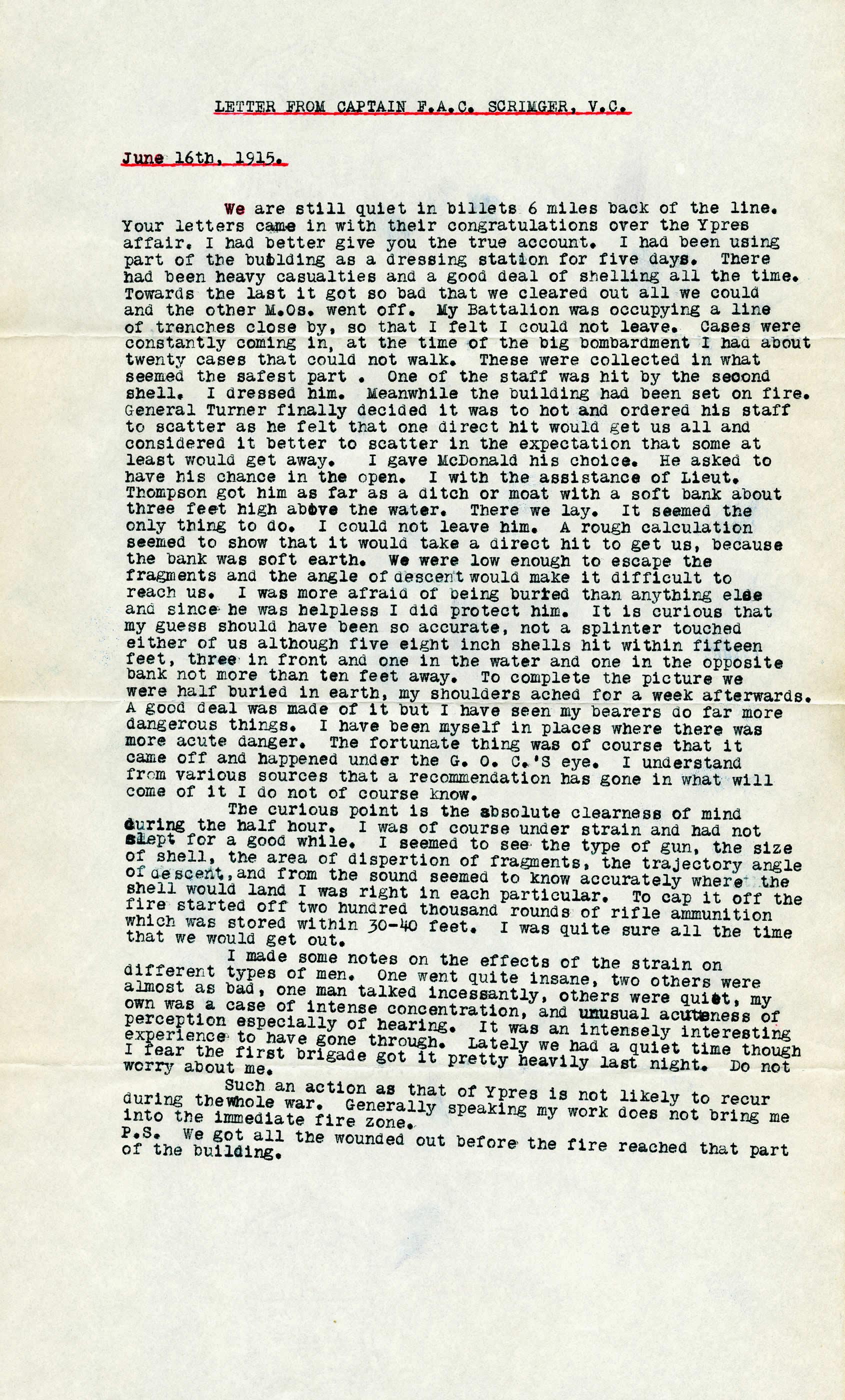 Lettre du capitaine F.A.C. Scrimger, V.C.