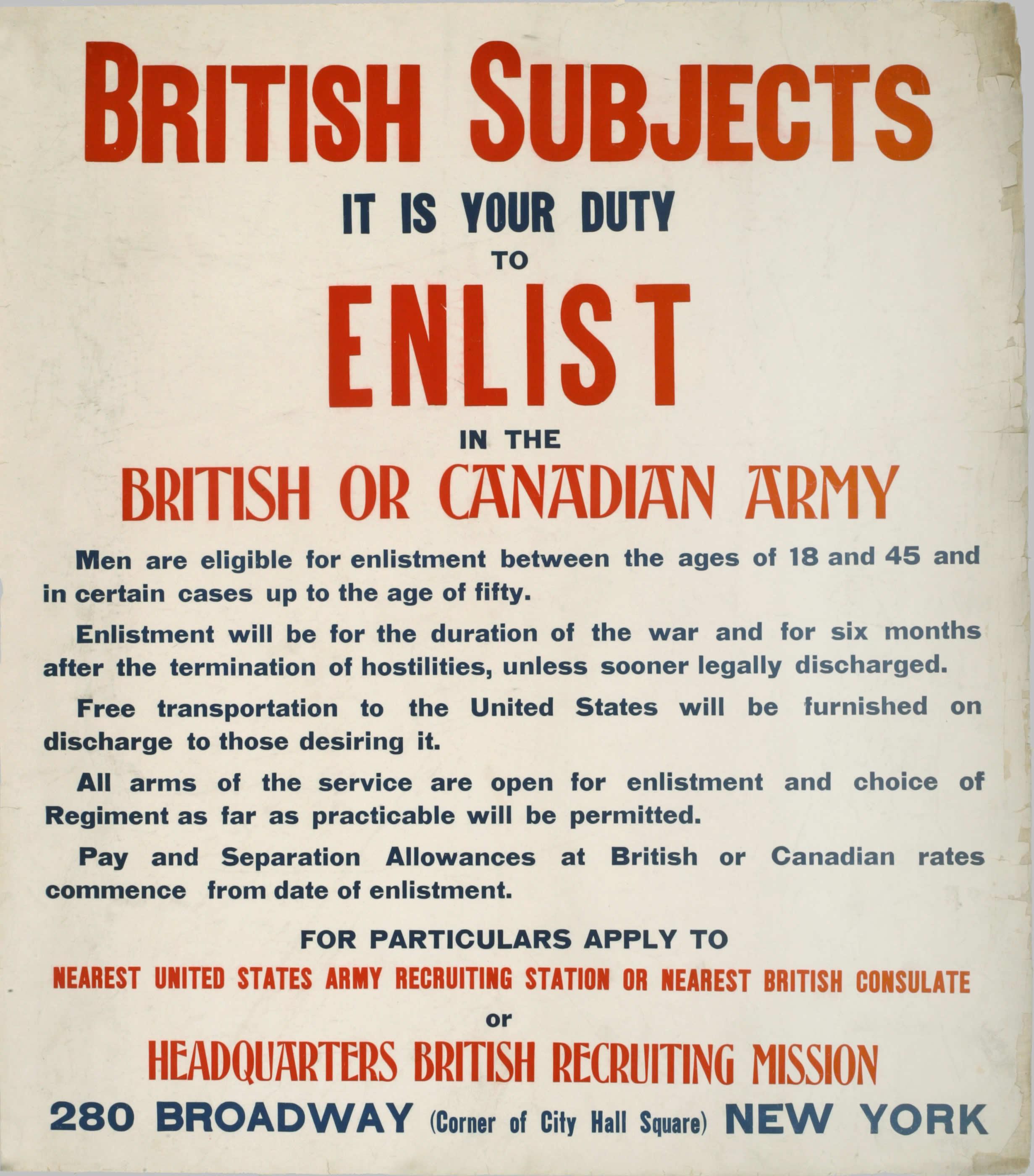<i>Enrôler dans l'armée britannique ou l'armée canadienne</i>