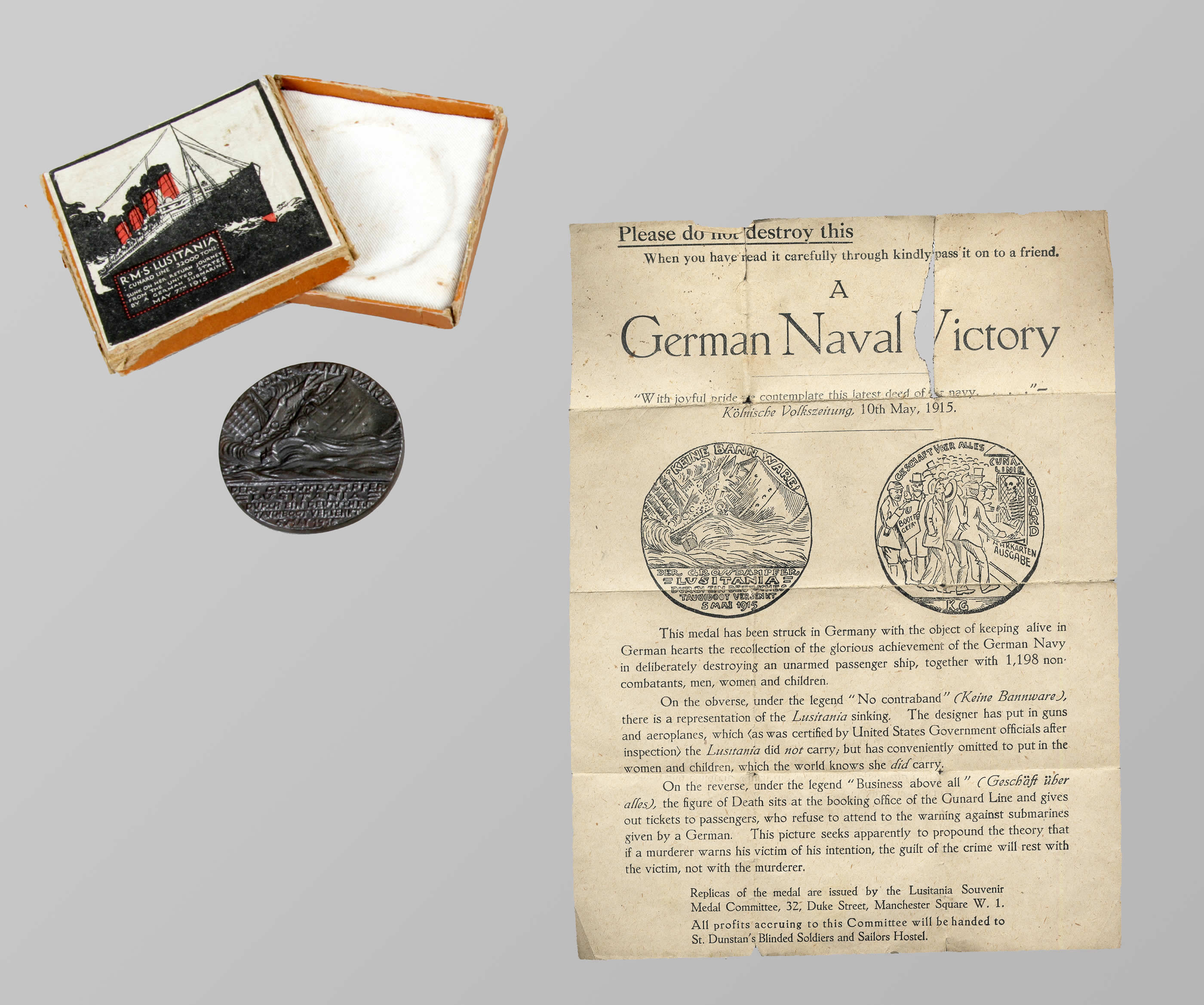 Médaille du <i>Lusitania</i>, version britannique