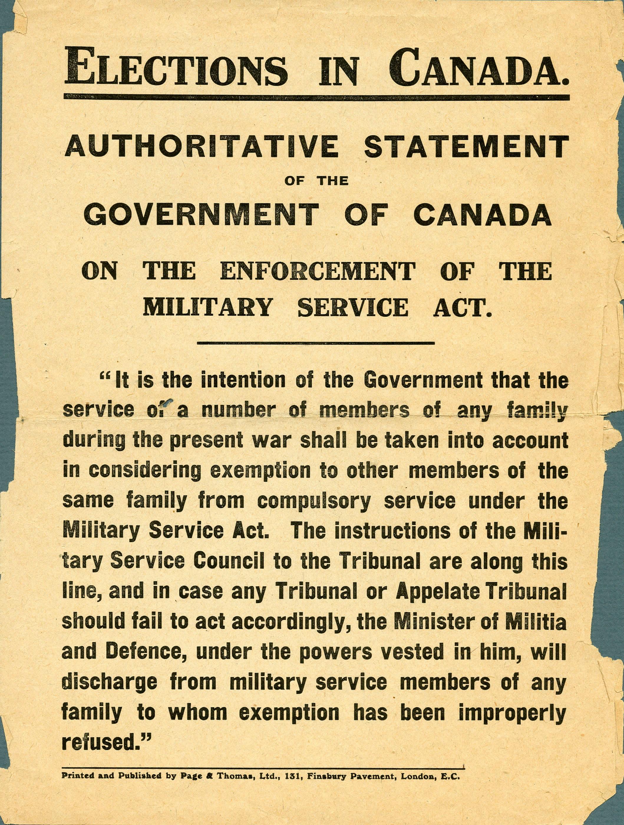 <i>Entrée en vigueur de la Loi du Service Militaire</i>