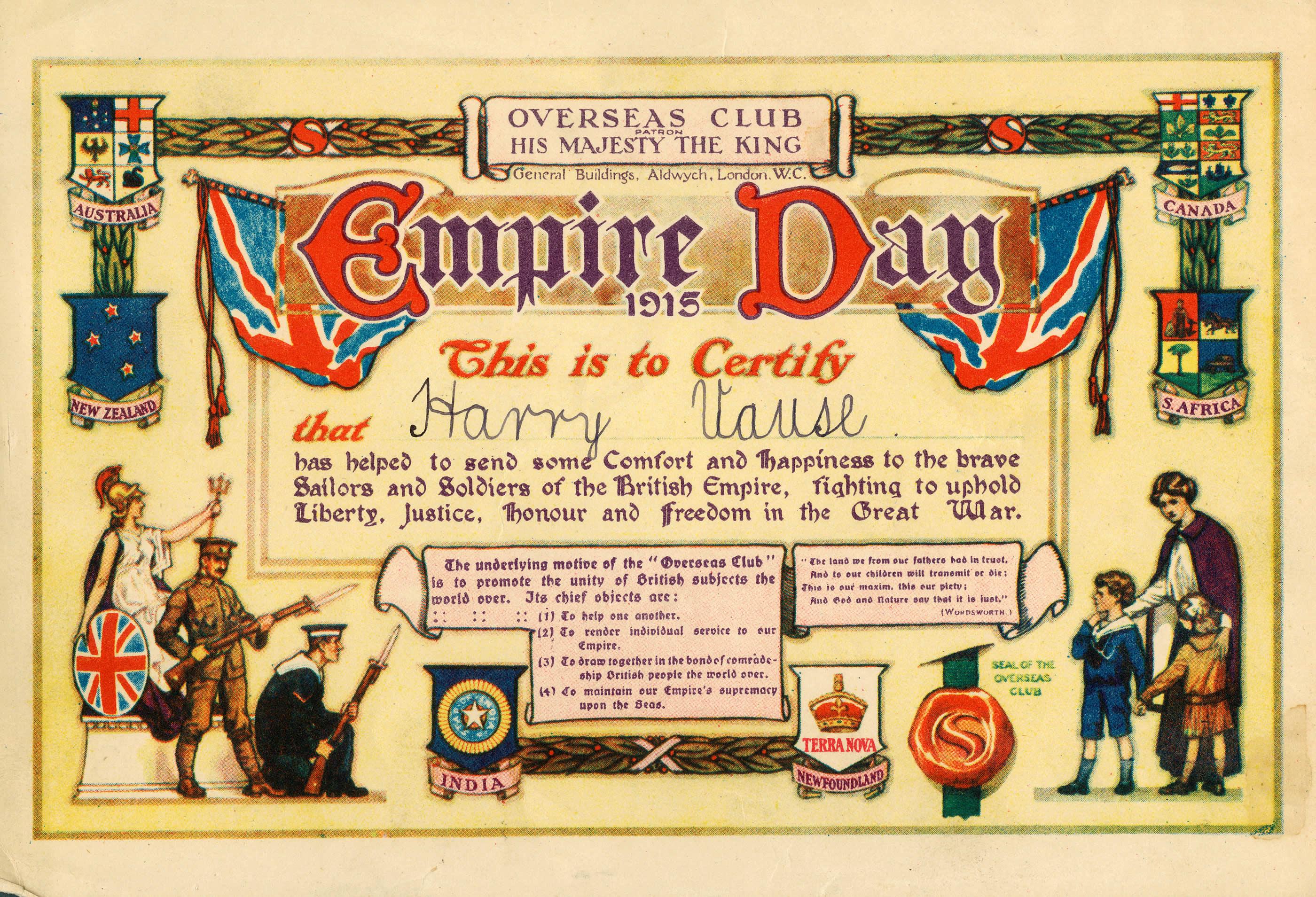 Certificat de l'Empire Day