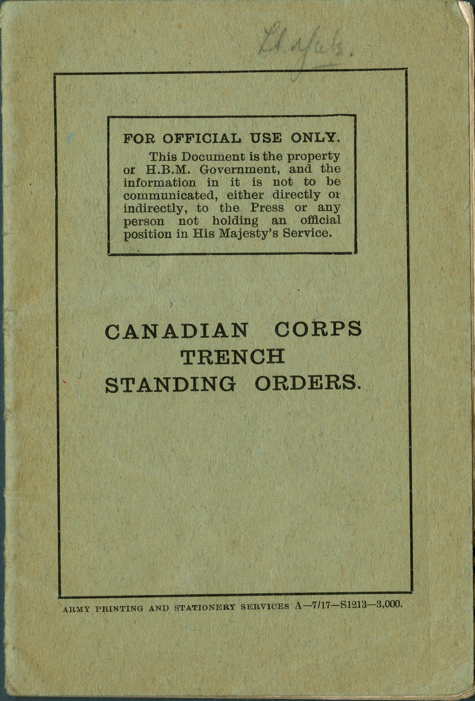 Ordres permanents pour le Corps canadien dans les tranchées