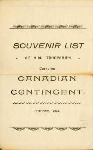 Liste de souvenirs, premier contingent canadien