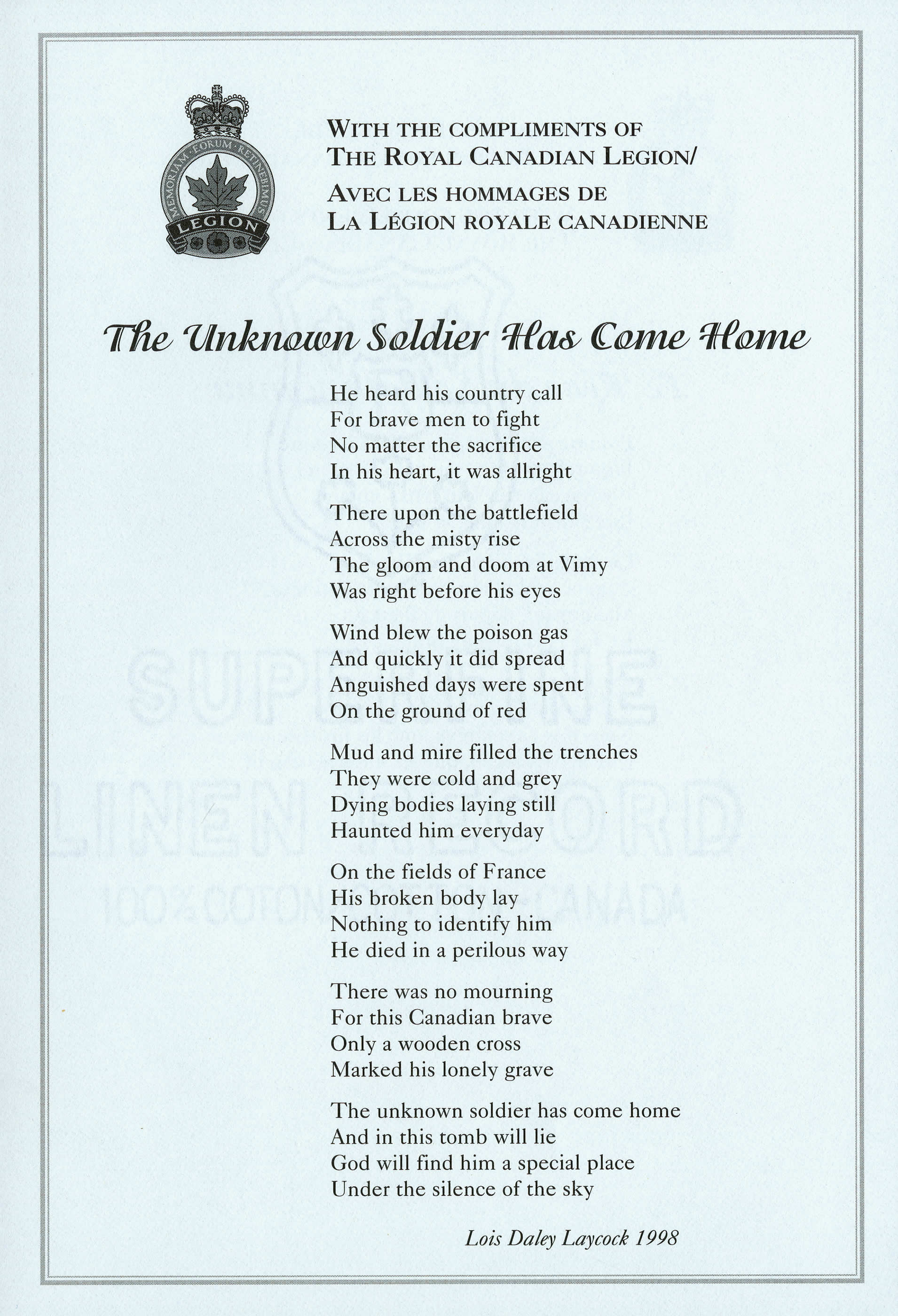 <i>The Unknown Soldier Has Come Home (Le soldat inconnu est rentré chez lui)</i>