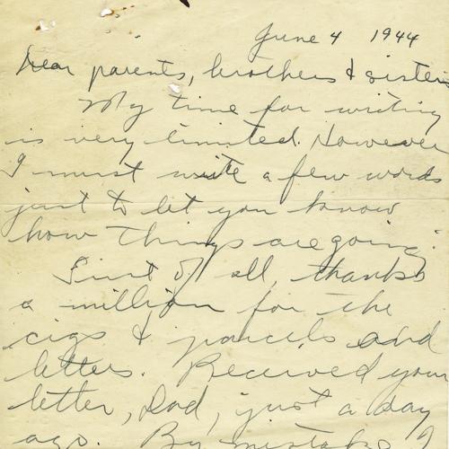 Dernière lettre du soldat LeslieNeufeld, 4juin1944