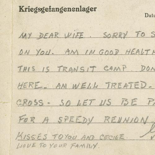 Carte postale du prisonnier de guerre GuyRainville à sa femme, Peggy