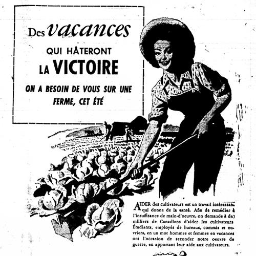 Annonce de journal, Des vacances qui hâteront la Victoire (Vacations that will hasten victory)
